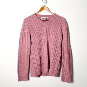 Vintage Rose Pink Cable Knit Cottagecore Sweater